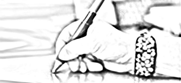 Tryckorit direktreklam – hand som skriver i atelje – originalproduktion